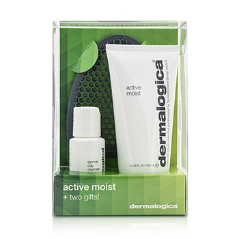 Dermalogica ชุด Active Moist Limited Edition Set: Active Moist 100ml +ทำความสะอาด Dermal Clay Cleanser 30ml + สเปรย์ทาหน้า Facial Cleansing Mitt