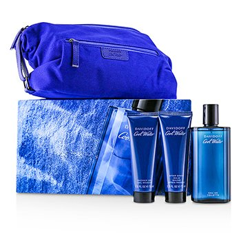 Davidoff Coolwater Coffret: Eau De Toilette Spray 125ml + After Shave Balm 75ml + Shower Gel 75ml + Navy Toilet Bag
