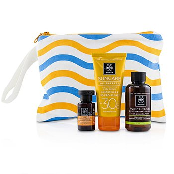 Apivita Suncare Set: Oil Balance Face Cream SPF30 50ml + Purifying Gel 75ml + Protective Hair Oil 20ml