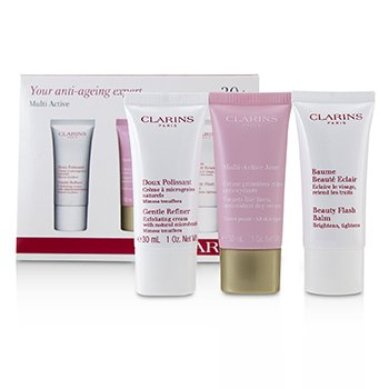 Clarins Multi-Active 30+ Anti-Ageing Skincare Set: Gentle Refiner 30ml + Multi-Active Day Cream 30ml + Beauty Flash Balm 30ml