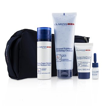 Clarins Men Everyday Heroes Set: 1x Exfoliating Cleanser 125ml + 1x Super Moisture Balm 50ml + Shampoo & Shower 30ml + Shave Ease 3ml