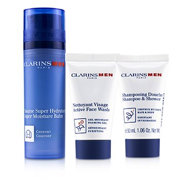 Clarins Men Everyday Hydration Heroes Set : 1x Super Moisture Balm 50ml+1x Shampoo & Shower 30ml+1x Active Face Wash 30ml