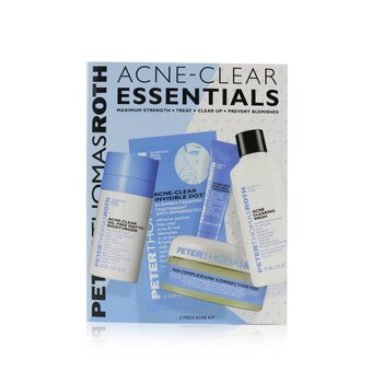 Peter Thomas Roth Acne-Clear Essentials 5-Piece Acne Kit: Wash 57ml+Correction Pads 20 pcs+Moisturizer 20ml+Treatment 7.5ml+Clear Dots 12 dots
